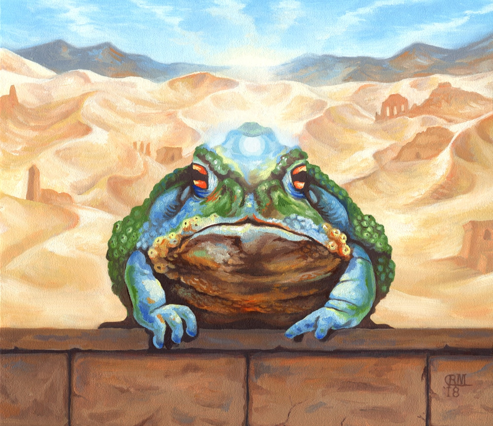 Painting of a Magical Desert Toad Who Turns Victims to Dust