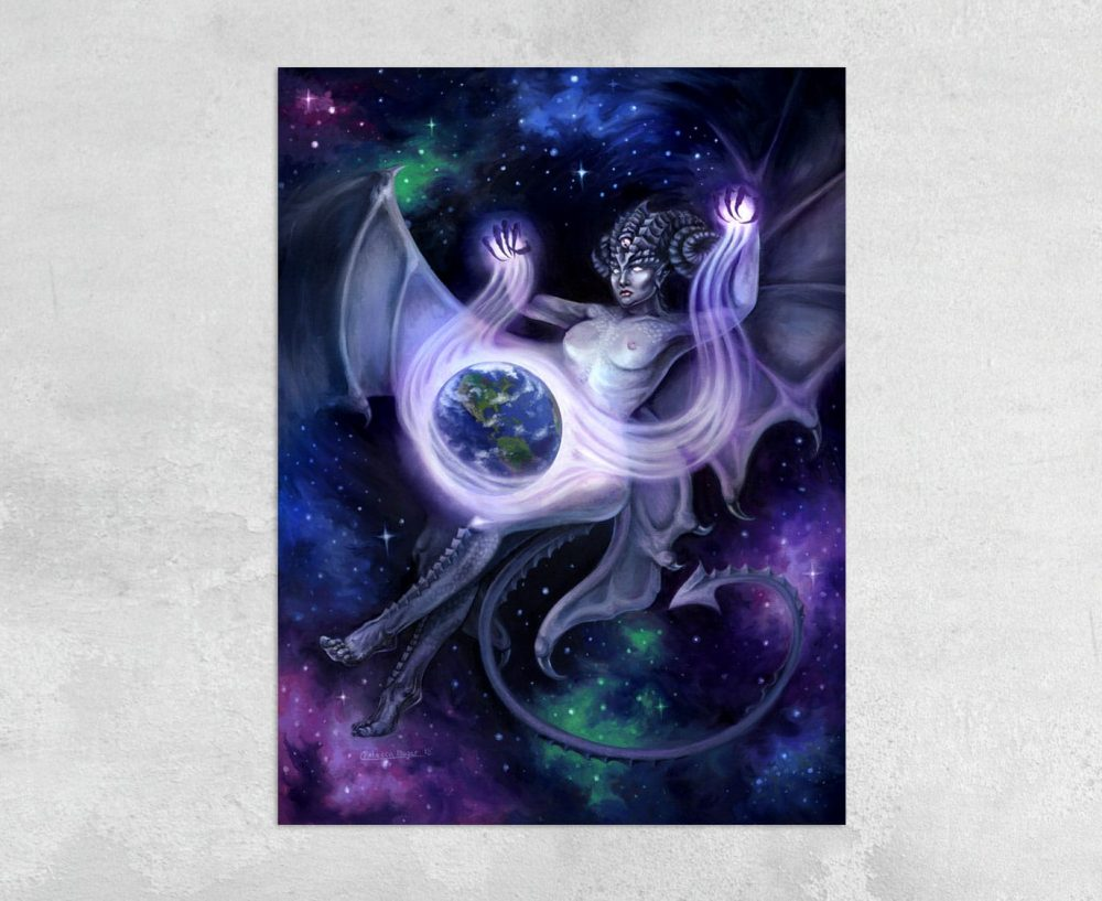 Otherworldly - Print of a Giant Space Faerie Casting a Spell on Planet Earth