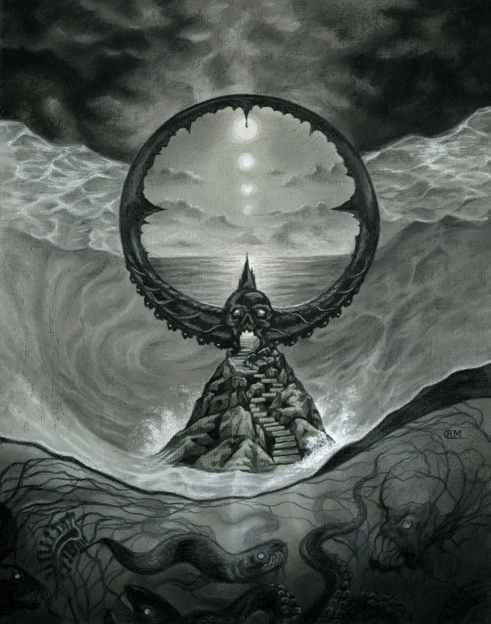 Passage - Evil Lovecraft Ocean Portal Drawing by Rebecca Magar