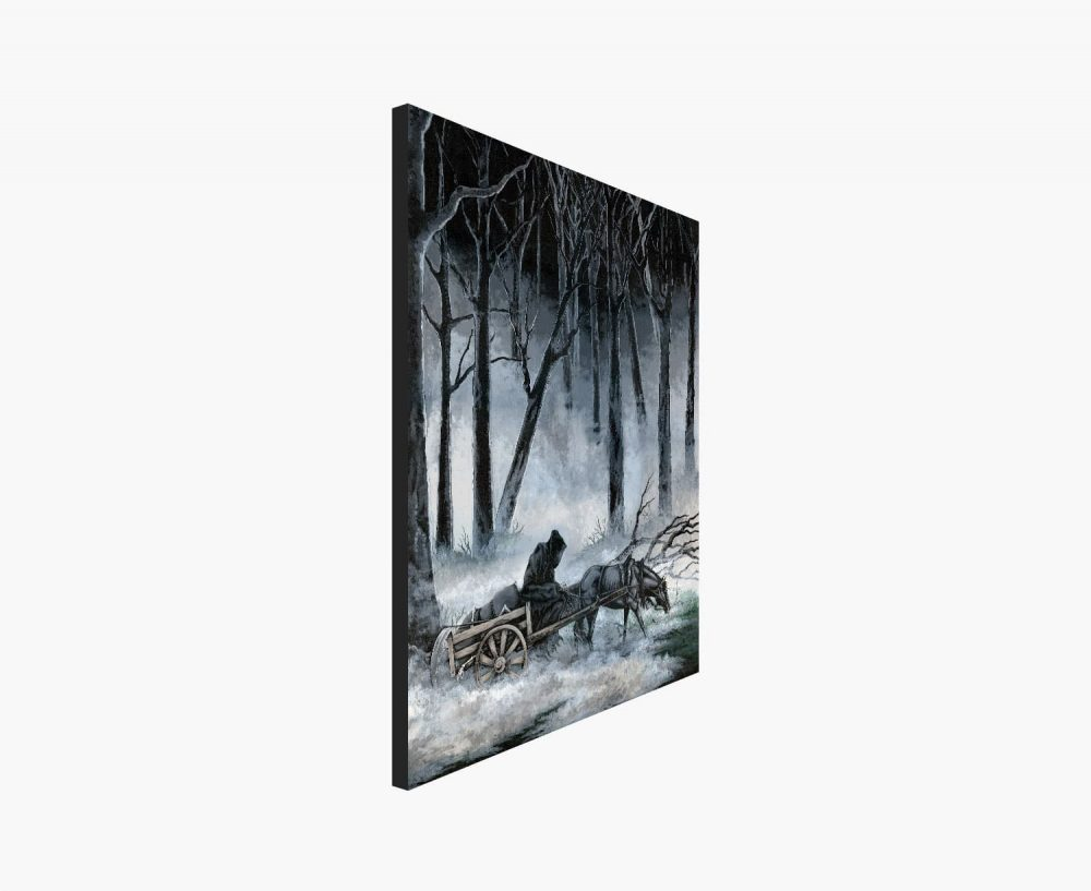 Print of a Grim Reaper on a Horse Drawn Wagon Riding through a Foggy Forest
