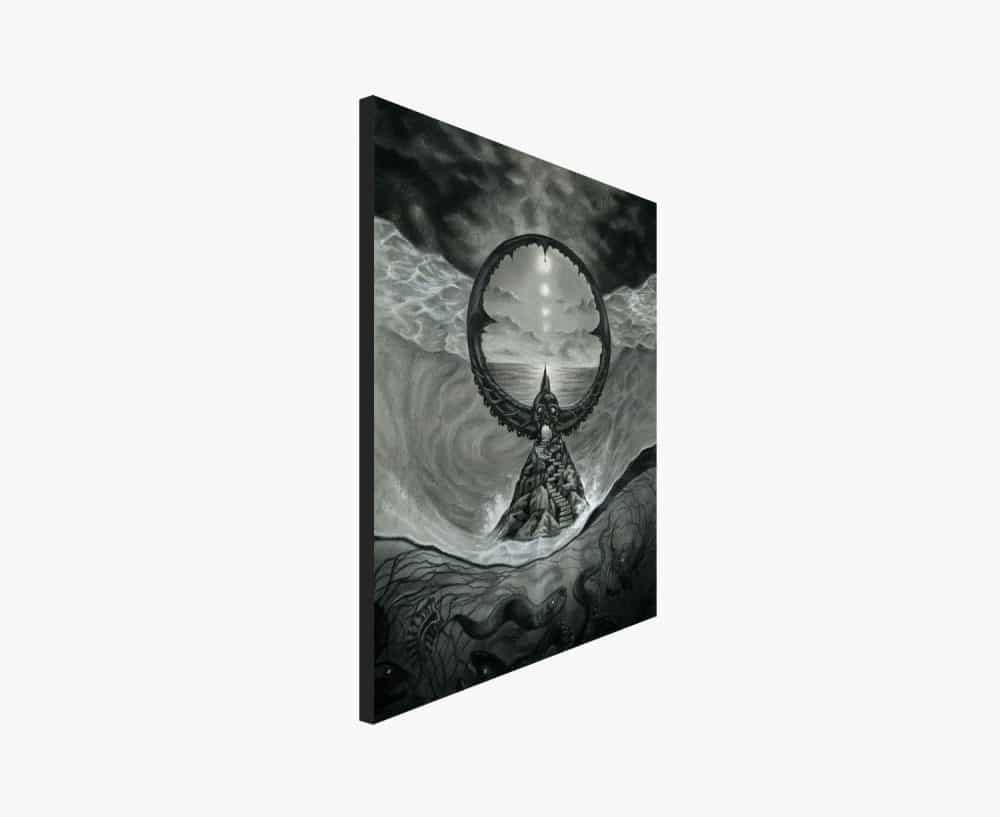 Passage - Lovecraft and Beksinski Inspired Drawing of A Dark Ocean Portal - Print by Rebecca Magar
