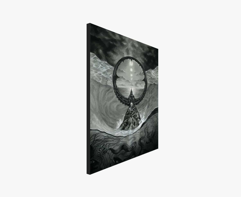 Passage - Lovecraft and Beksinski Inspired Drawing of A Dark Ocean Portal - Print by Rebecca Magar