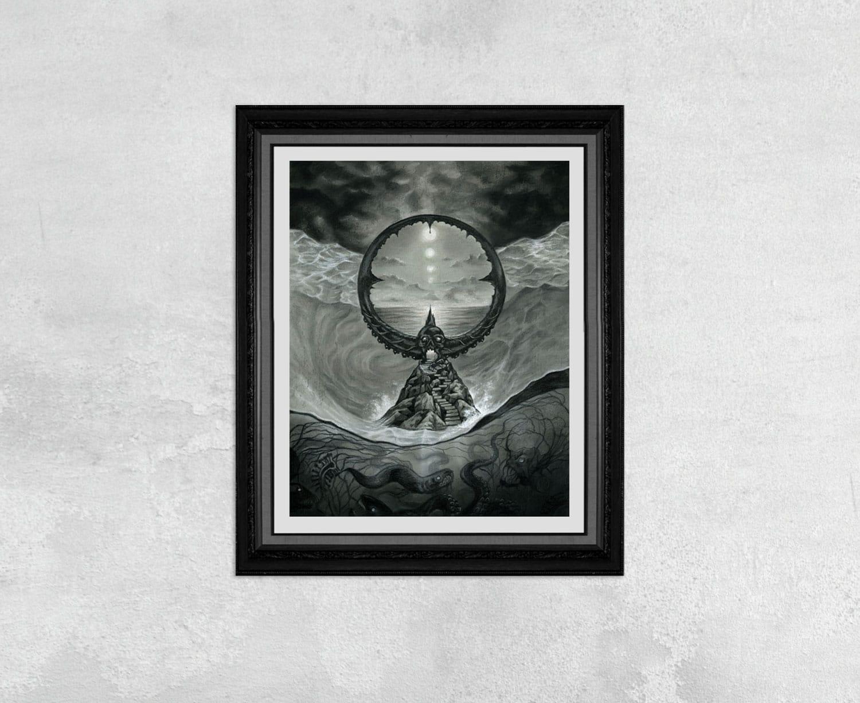 Passage - Lovecraft and Beksinski Inspired Drawing of A Dark Ocean Portal by Rebecca Magar