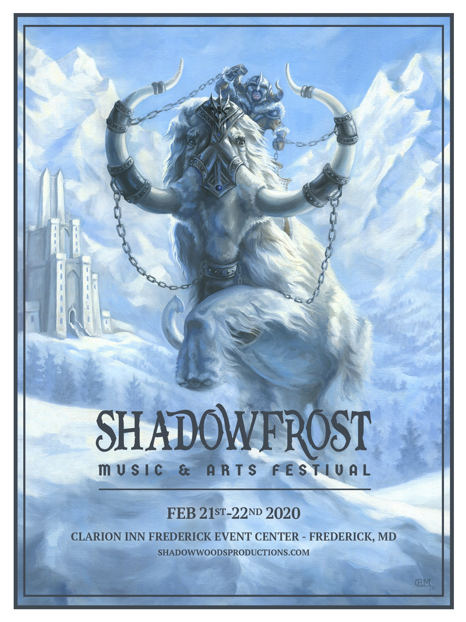 Painting of White Mammoth by Rebecca Magar for Shadow Frost Music & Arts Festival - 2020