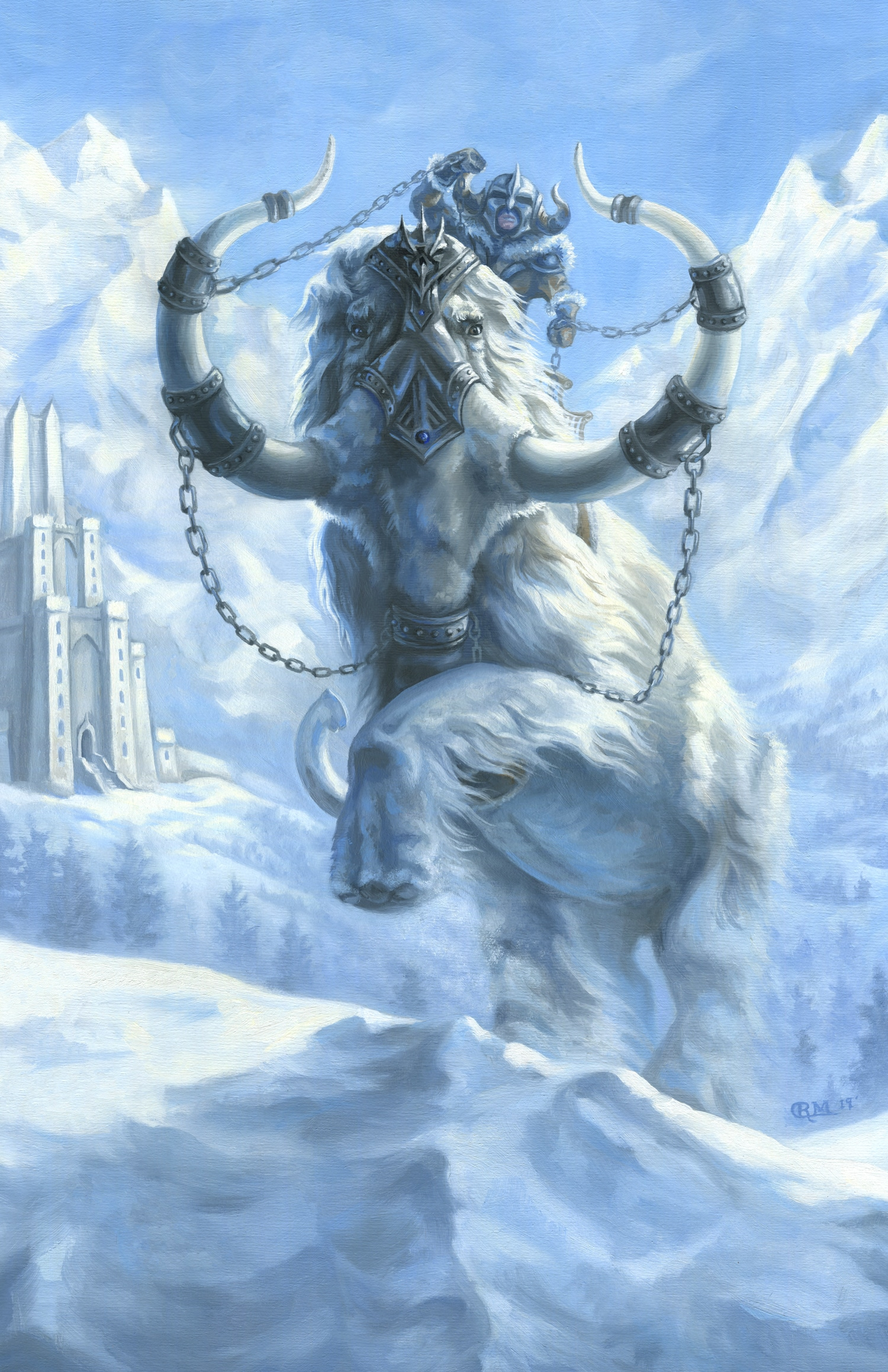 Painting of a White War Mammoth in the Snow by Rebecca Magar - Wailing Wizard