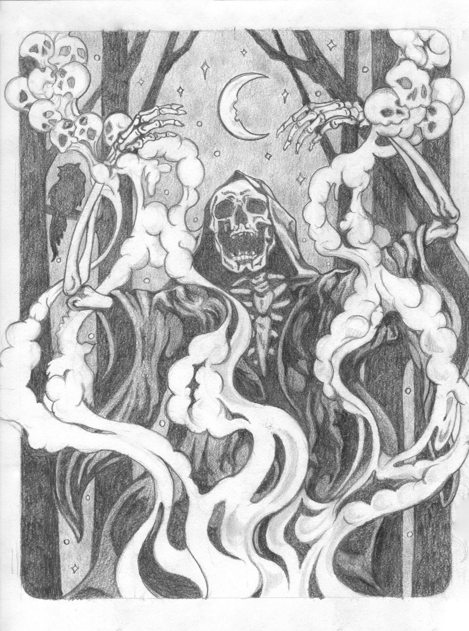 Conjuring Skeleton Sketch by Rebecca Magar - Wailing Wizard