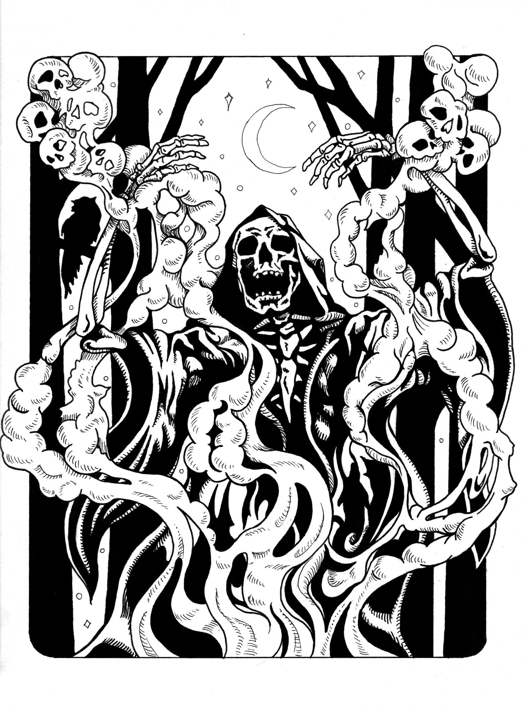 Skeleton Wizard Conjuring Spirits in Smoke - Ink Drawing by Rebecca Magar