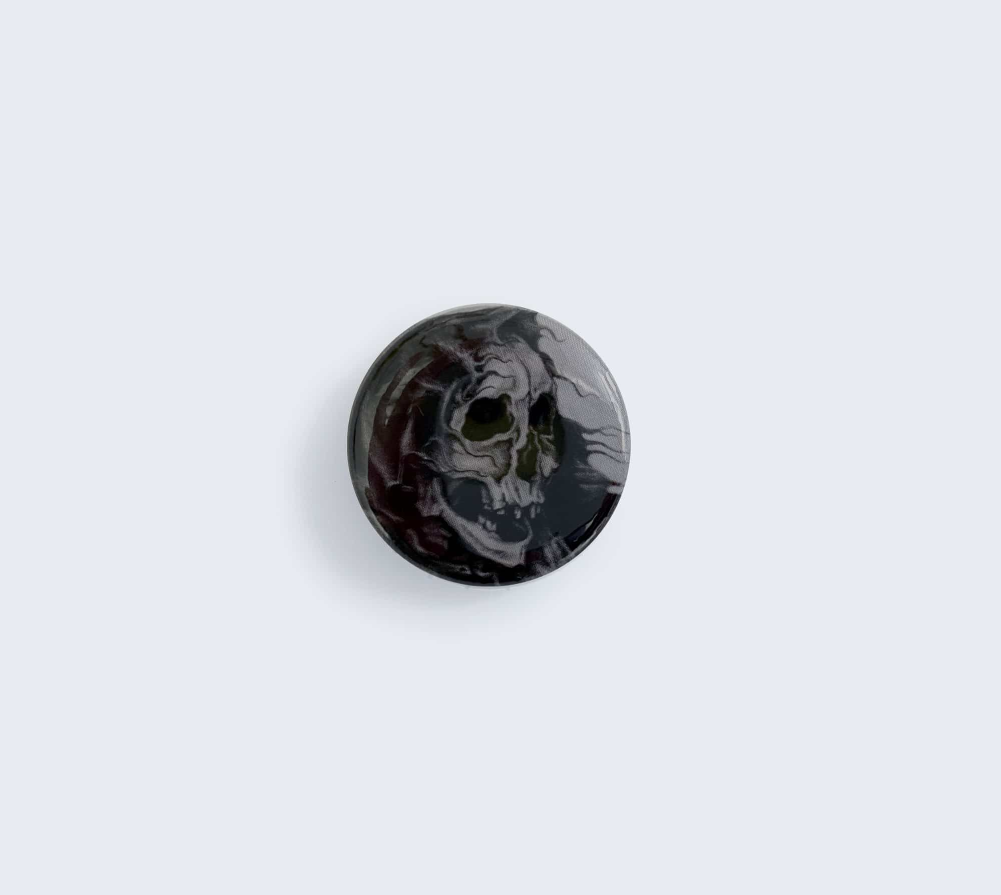 Black Skeleton Pin with Artwork by Wailing Wizard