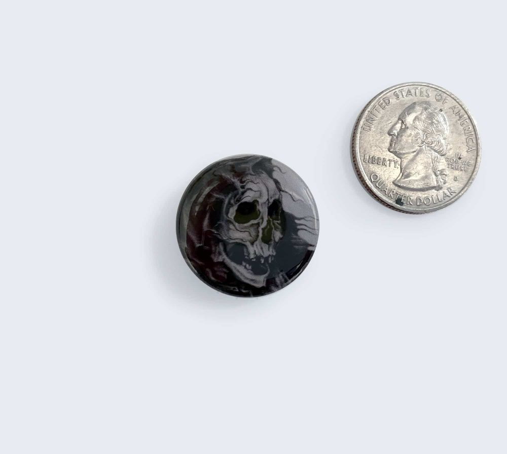 Black Skeleton Button with Artwork by Rebecca Magar