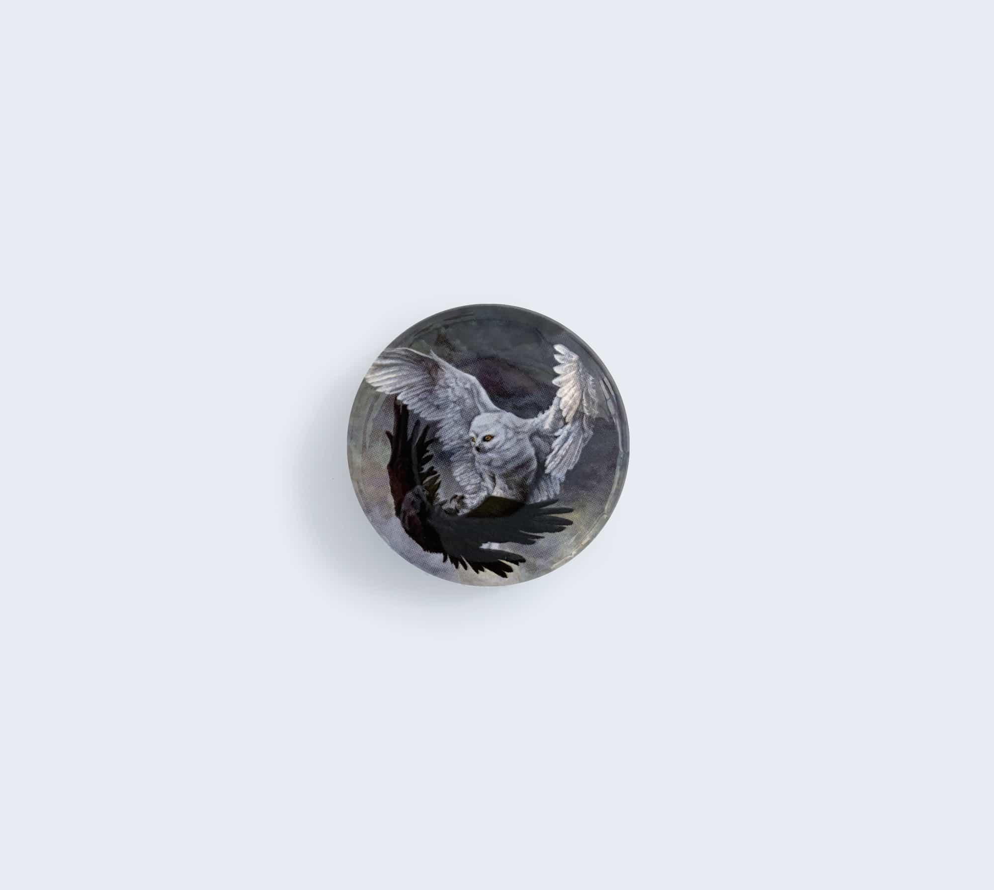 Yin Yang Owl and Raven Pin by Rebecca Magar