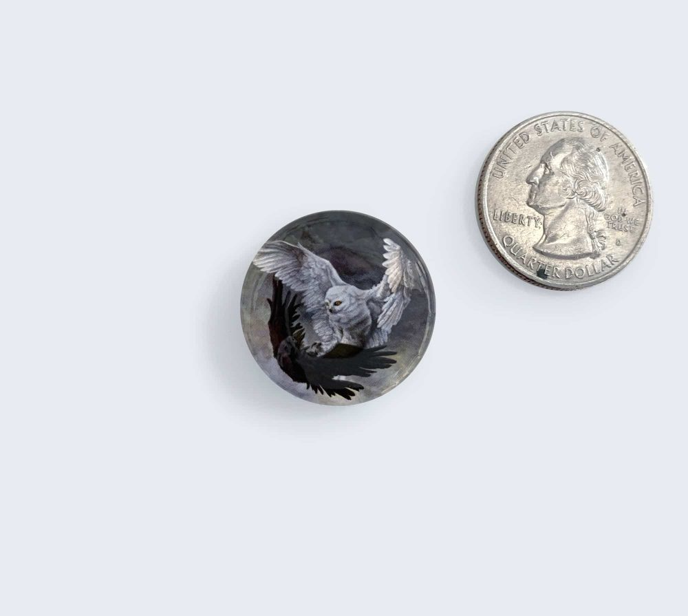 Yin Yang Owl and Raven Button by Rebecca Magar