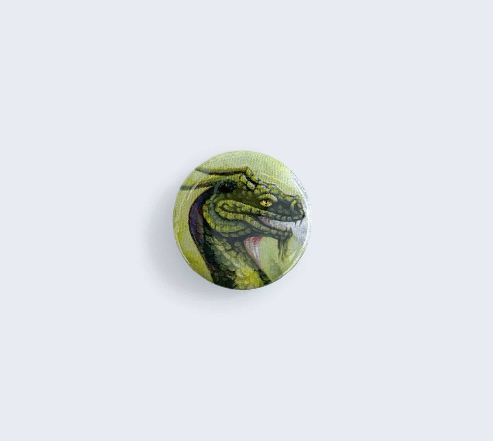 Green Dragon Pin - Button Artwork by Rebecca Magar