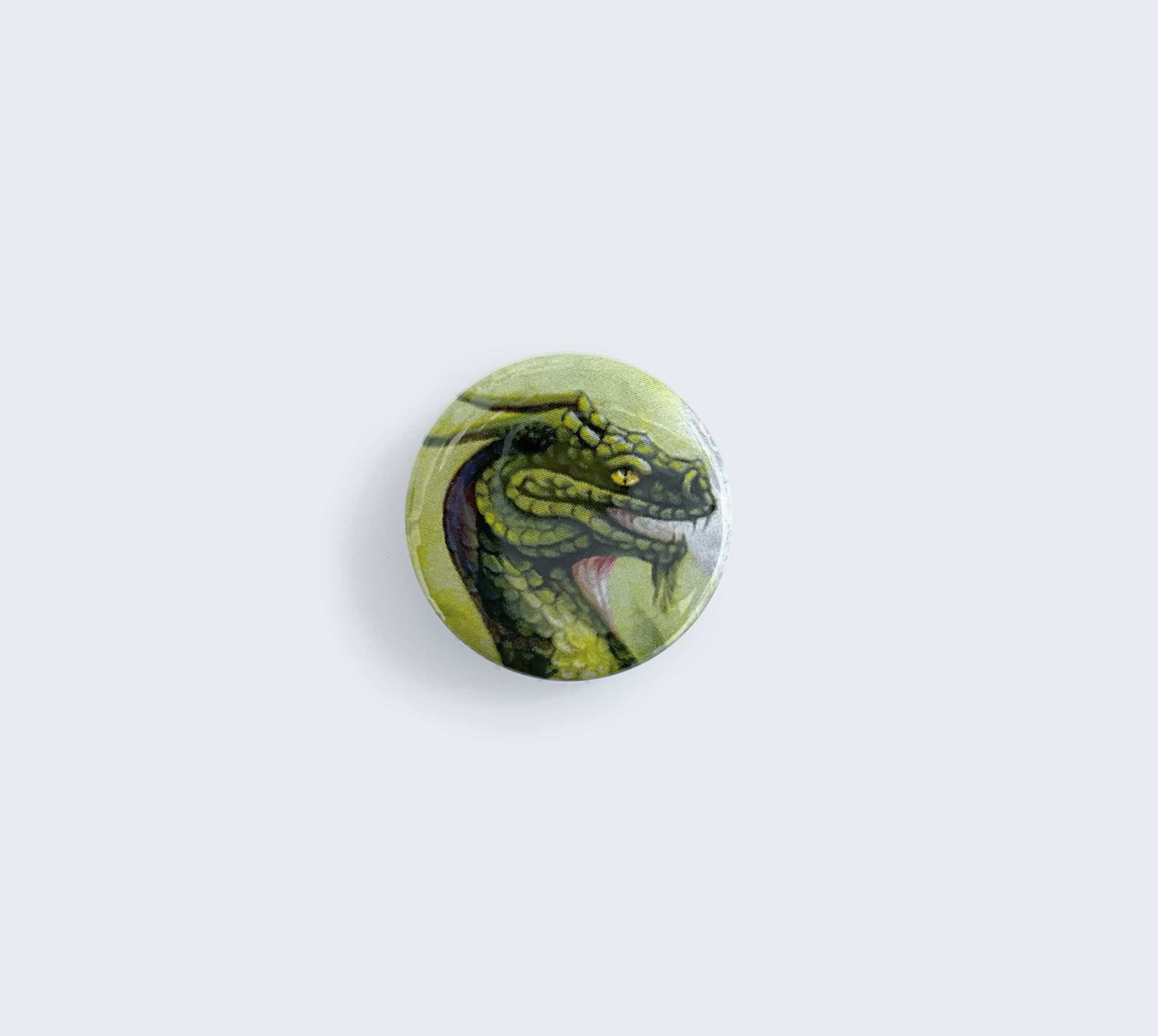 Green Dragon Pin - Button Artwork by Rebecca Magar