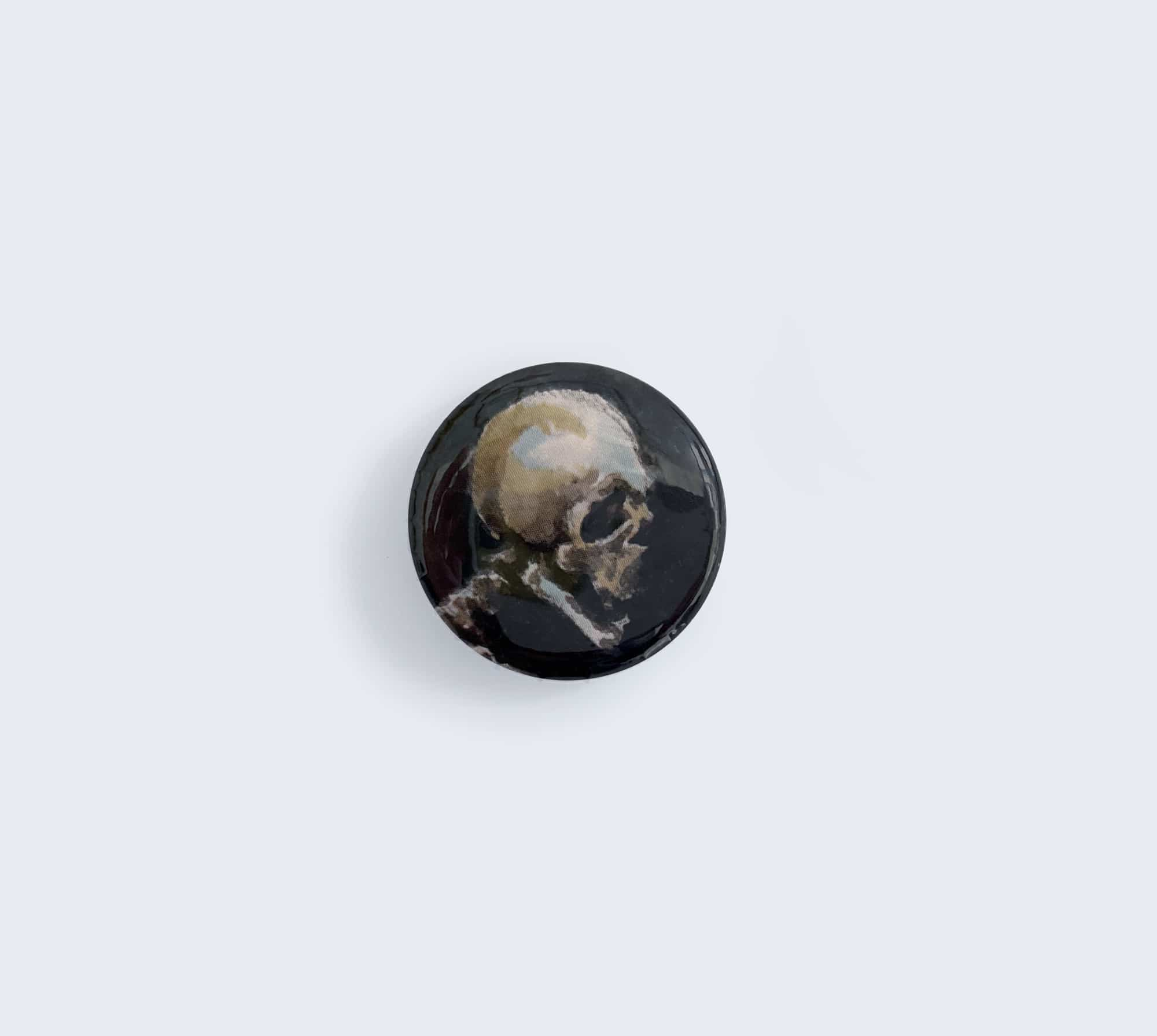 Skull Pin Button with Artwork by Rebecca Magar