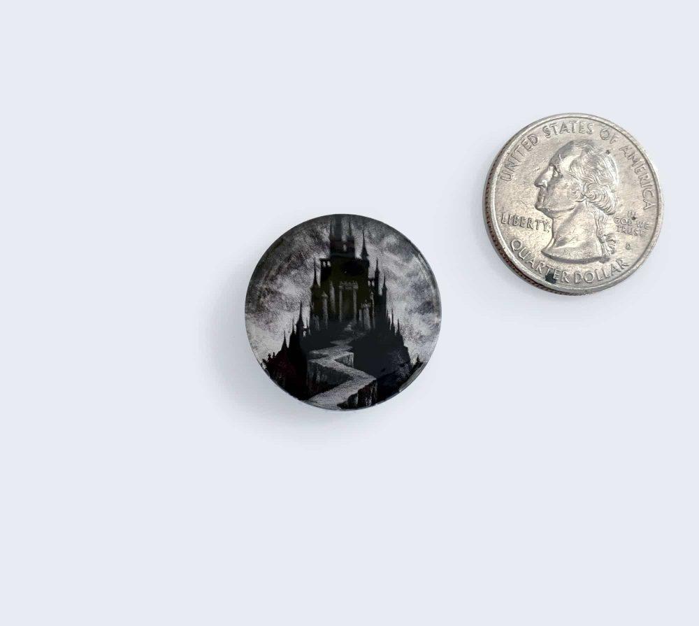 Black Castle Button - Pin Artwork by Rebecca Magar