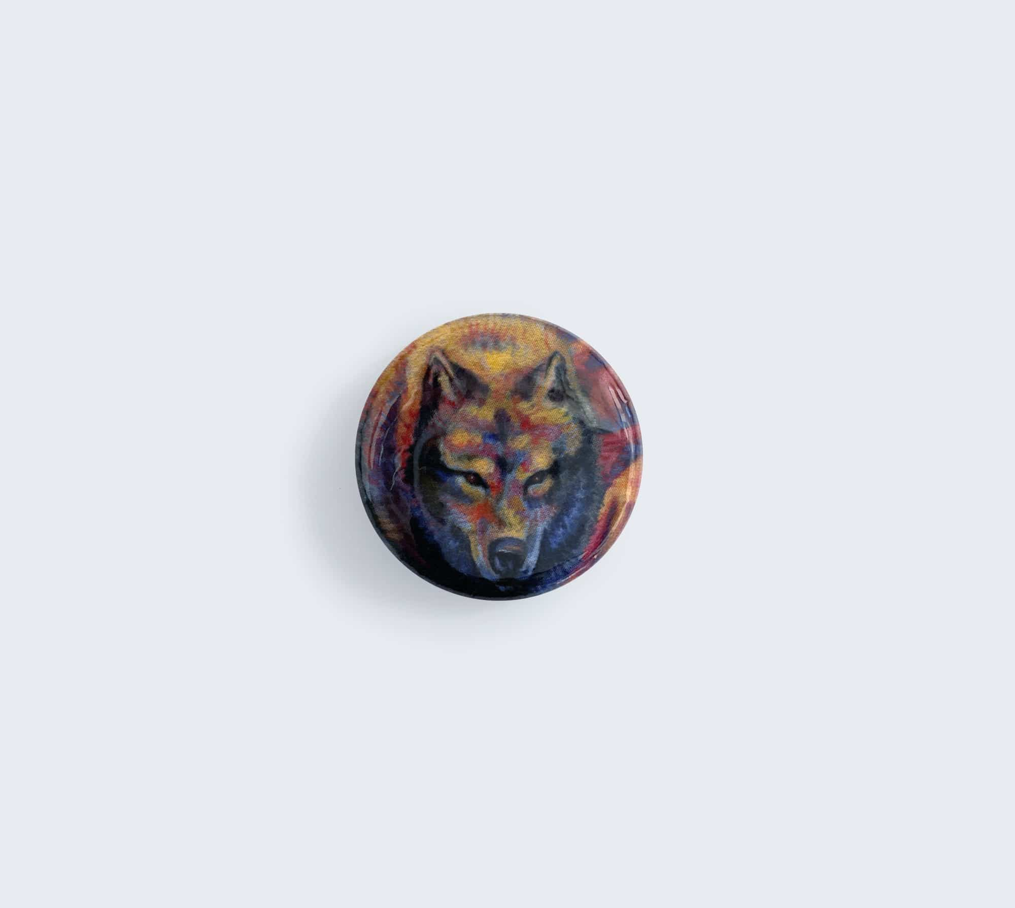 Wolf Head Button - Pin with Artwork by Rebecca Magar - Wailing Wizard