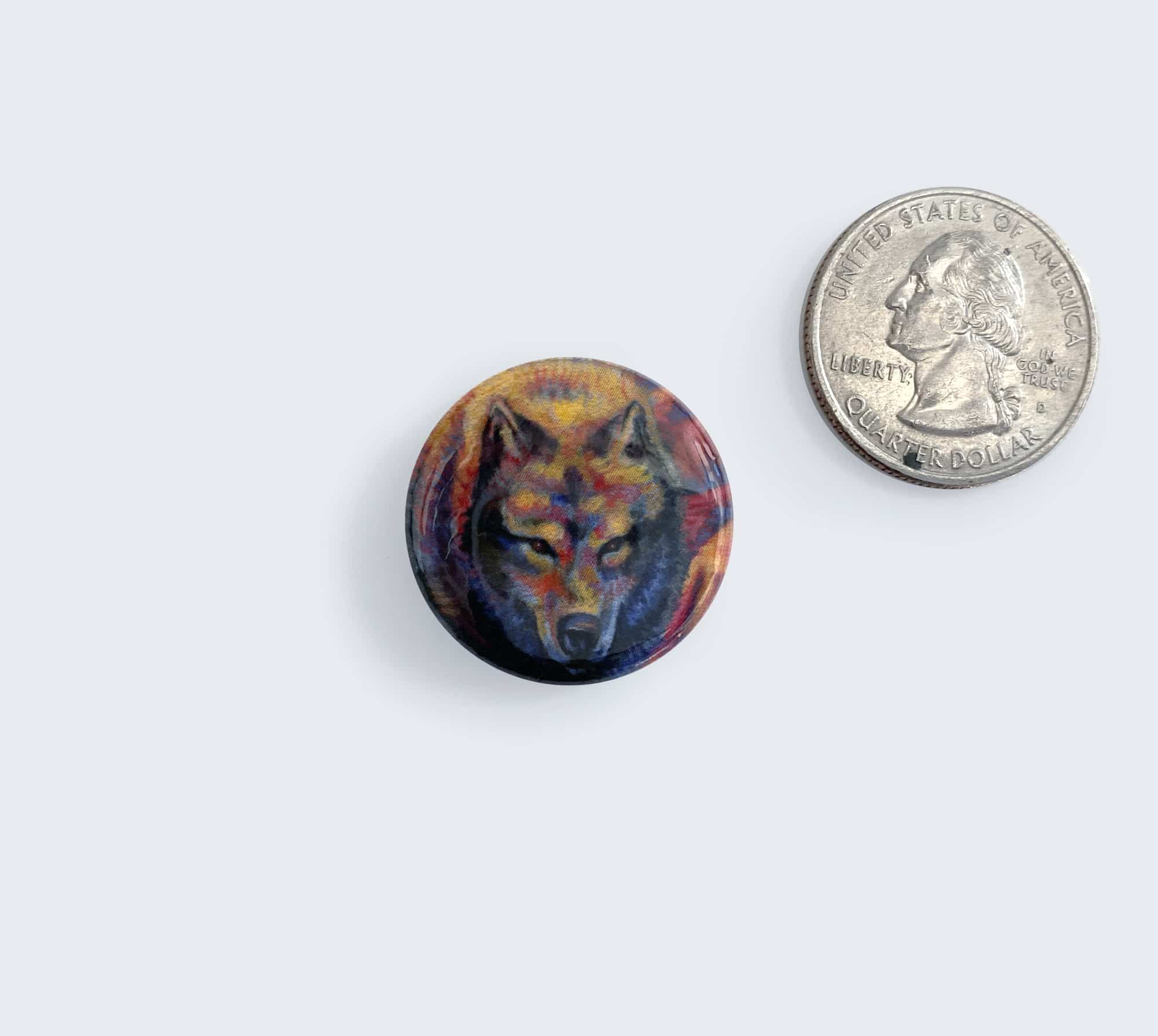 Colorful Wolf Pin - Button with Artwork by Rebecca Magar