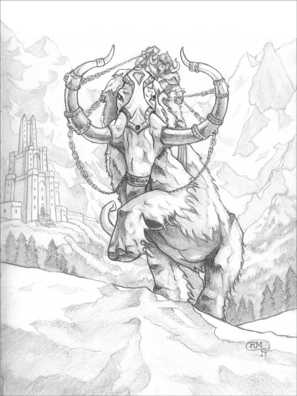 War Mammoth Preliminary Sketch for Shadow Frost Music and Arts Fest